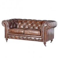 Cherished Chesterfield Brown Leather Vintage Sofa
