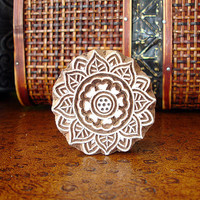 Flower Stamp: Hand Carved Wood Stamp, Round Handmade Printing Block from India