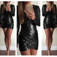 Black Deep V Long Sleeve Sequined Bodycon Wrap Mini Dress