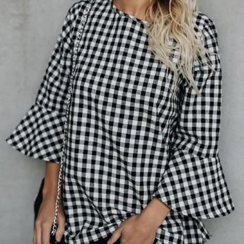Black Plaid Pattern Cut Out Flare Sleeve 3/4 Sleeve Cute Casual T-Shirt