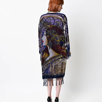 Art Deco Style Blue Lady Face Velvet Beaded Burn Out Scarf Coat