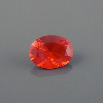 Fire Opal: 1.23ct Cherry Red Oval Shape Gemstone, Loose Natural Hand Made Mexican Faceted Precious Gem, OOAK Cut Crystal Jewelry Supply O40