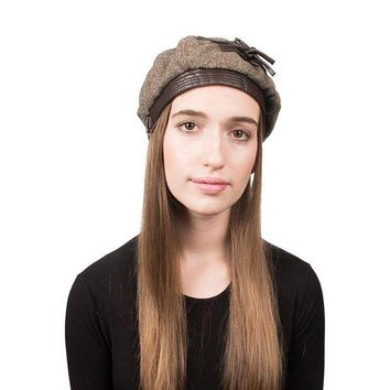 ONETOW Tweed hat with Leather Bow for Women