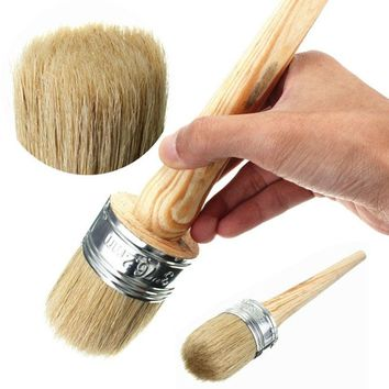 1Pc Wooden Handle Round Bristle Paint Wax Chalk Shabby Chic Oil Paint Brush Tools