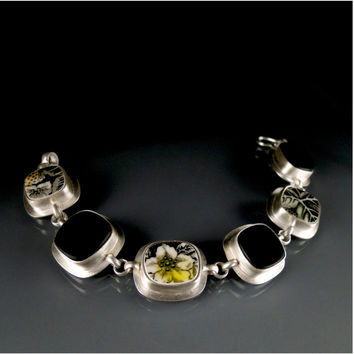 Meadow Vintage Hand Painted Dinnerware, Silver and Black Glass Bracelet