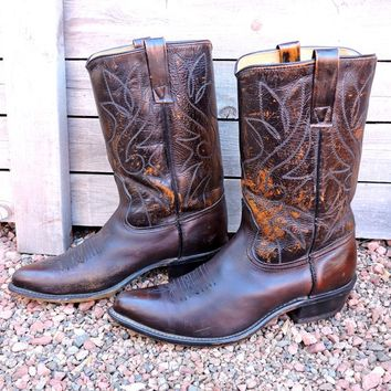Vintage cowboy boots 10 D / 70s Acme brown leather rustic boots / Circle A tooled leather western boots / made in USA