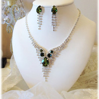 Wedding jewelry set ,bridesmaid jewelry set, Bridal necklace earrings, vintage inspired rhinestone jewelry set, Green crystal jewelry se