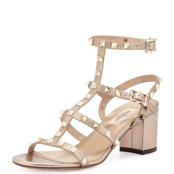 Valentino Garavani Rockstud Leather City Sandal, Skin