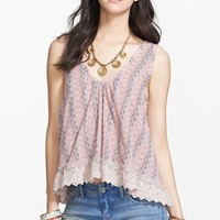 Free People 'Flutter Fly' Lace Trim Chiffon Top | Nordstrom