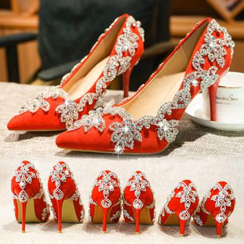 New wedding bride shoes crystal red female single shoe water drill fine heel high heel tuxedo toast shoes