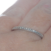 Sterling Silver Cubic Zirconia Thin Stackable Eternity Band 2mm Wide Ring