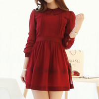 Red Lapel Chiffon Dress