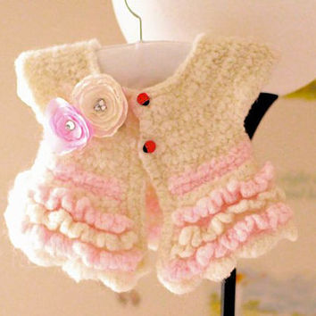 Jacket Shrug Bolero In Pink and Ivory With Lady Bug Flower Newborn Baby Toddler Girls Dewdrops