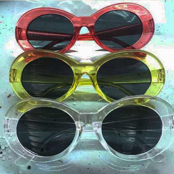 PRE ORDER !! Oval Mod Stlye Vintage,Kurt Sunglasses 90s ,Clear Transparent  Oval Sunglasses
