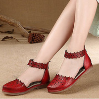 Handmade Fashion Leather Flat Shoes for Women, Casual Shoes, Simple Soft Shoes,Pointed Toe Shoes, Women's Red Vintage Shoes,Strapping shoes
