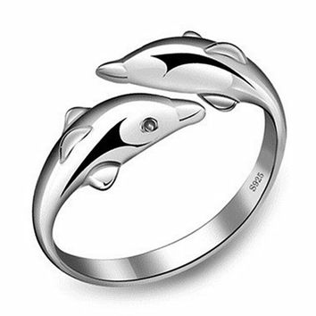 R368 Jewelry Wedding Double Dolphin Ring AAA CZ Rings Jewelry Accessories For Women