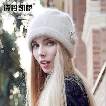 DCCKU62 High Quality Fashion Women's Winter hat Rabbit Hair & Wool Warm beanie adjustable elegant Earmuffs cap femme autumn Skullies