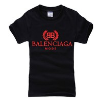 Balenciaga 2019 new double B letter printed solid color round neck half sleeve T-shirt Black