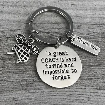 Lacrosse Coach Keychain- Great Coach is Hard to Find