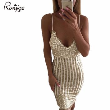 Ruiyige 2017 Summer Women Dresses Lady Gold Backless Sexy Vestidos V Neck Sequin Party Dress Harness New Arrival Short Dress