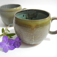 Large Mug, Coffee Cup, Tea Mug, Pottery Cup, Breakfast Set, Handmade Ceramic Kitchenware in Olive Green and Turquoise