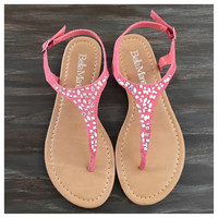 """Fun Time, Any Time"" Crystal Accented Coral Suede Sandals"