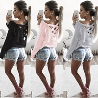 Cross Back Knit Top (Pink, White, Gray, Black)