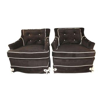 Pre-owned Daniel Jones Black Velvet Vintage Club Chairs