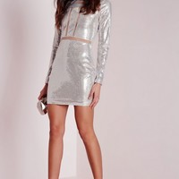 Missguided - Mesh Insert Sequin Bodycon Dress Silver