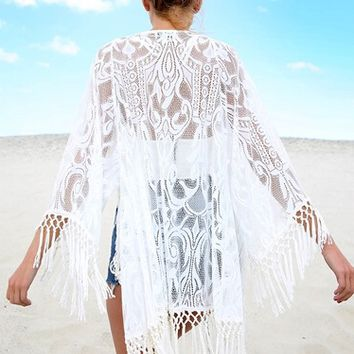 Lace Beach Cardigan With Tassel
