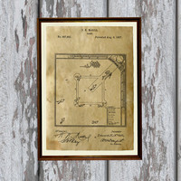 Antique home decor Baseball print Sport poster Patent art AKP148
