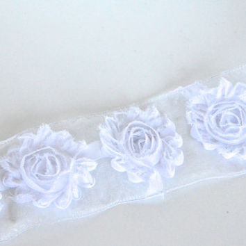 "1 yard 2.5"" shabby chic flowers,sheer frayed flowers,wired ribbon,white flowers,embellishment, hair bows, scrapbooking,card making,crafts,"