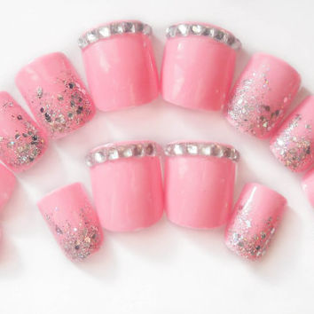 ON SALE Barbie Pink Fake Nails, 3D Nails, Press on Nails, 3D Nail Art, Acrylic Nails, False Nails, Artificial Nails, Pink Manicure, Glitter