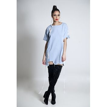 Say No More Denim Distress Dress