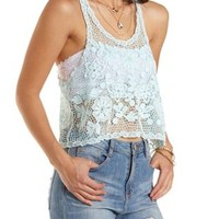 Racerback Crochet Swing Crop Top by Charlotte Russe