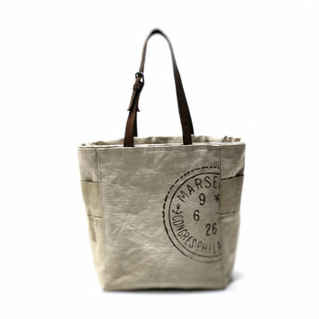 Grey canvas tote bag Vintage bag Recycled bag Leather Straps