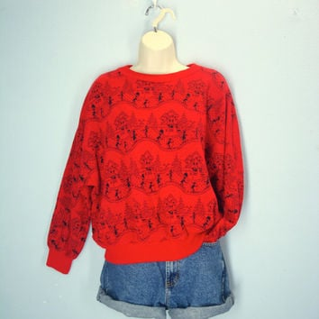 Ugly Christmas Sweater / 70s Ski Sweater / 1970s Lodge Sweater