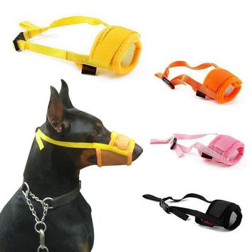 Pet Nylon Mesh Dog Muzzle Adjustable Anti Bite Mouth Mask Stop Chewing For Small Large Dog Training Products Pet Accessories