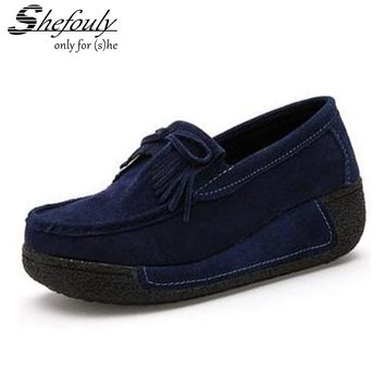 Shefouly Women Flat Platform Loafers Ladies Elegant Suede Moccasins Shoes Slip On Tassel Flats Women Casual Shoes 7 Colors