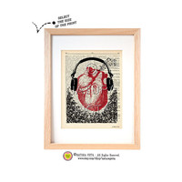 Listen to your heart dictionary print-Heart art print-Anatomical print-Anatomy print-Heart on book page-Upcycled Dictionary-by NATURA PICTA
