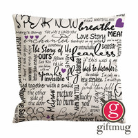 Taylor Swift Song Cushion Case / Pillow Case