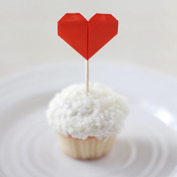 12 Mini Red Origami Heart Cupcake Toppers / Cake Topper / Cocktail / Wedding Reception / Paper Hearts / Summer Cocktail Party / Food Picks /