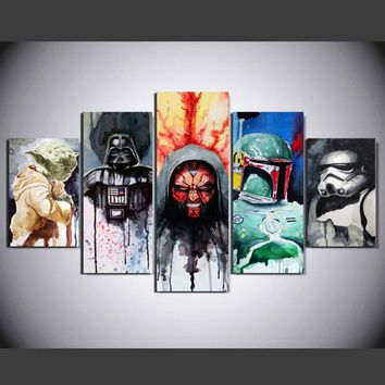 Star Wars Force Episode 1 2 3 4 5 Wall Art HD Home Decoration Pictures Posters Frame 5 Pieces Movie  Character For Living Room Printed Modern Painting AT_72_6