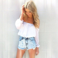 White Off The Shoulder Chiffon Top L (Small/Indie Brands)