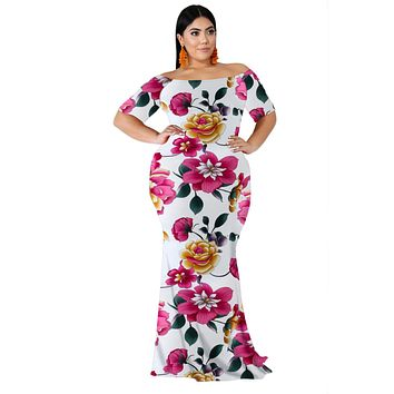 White California Poppy Floral Mermaid Plus Size Dress