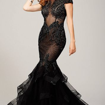 Black Cap Sleeve Mermaid Dress 26947
