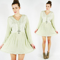 vtg 90s grunge revival boho green ethnic EMBROIDERED GAUZE button up slouchy BABYDOLL mini dress S M L