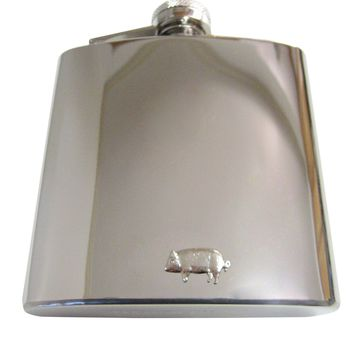 6 Oz. Stainless Steel Flask with Pig Pendant