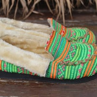 Womens Slippers Moccasin Style In Ethnic Hmong Green Striped Embroidery With Plush Lining Gift