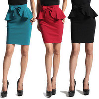 MOGAN Bow Accent BLACK PEPLUM SKIRT Womens High Waist Mini Pencil Career Party